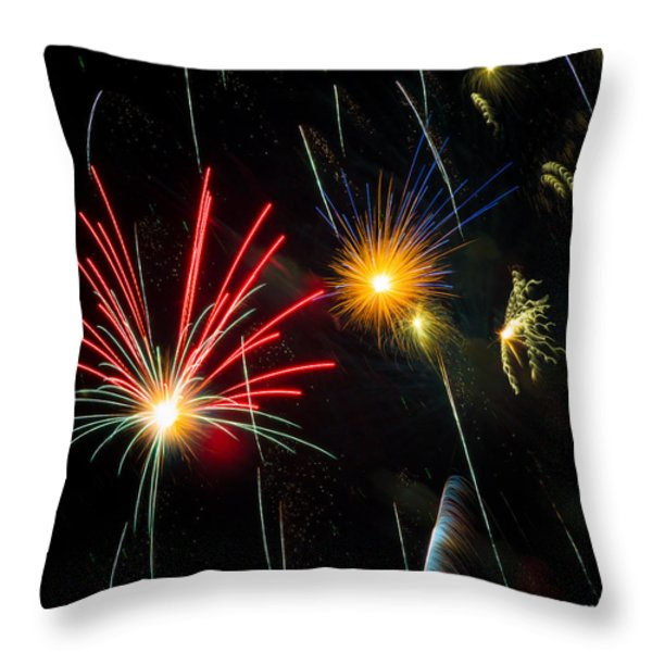 Cosmos Fireworks Throw Pillow by Inge Johnsson