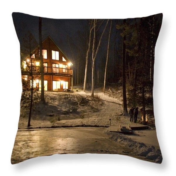 Cottage Country - Winter Throw Pillow by Pat Speirs