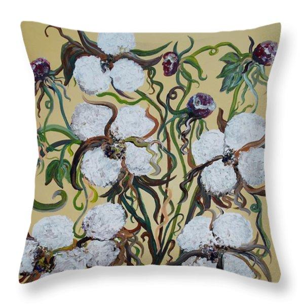 Cotton #2 - Cotton Bolls Throw Pillow by Eloise Schneider