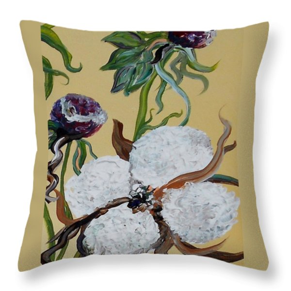 Cotton Boll Solo Throw Pillow by Eloise Schneider