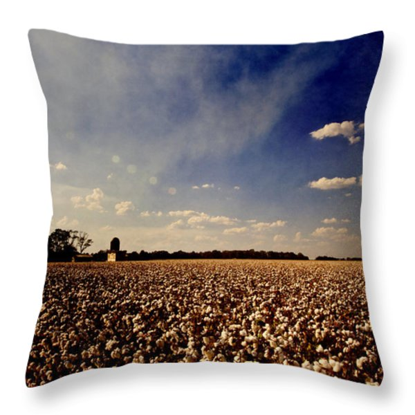 Cotton Field Throw Pillow by Scott Pellegrin