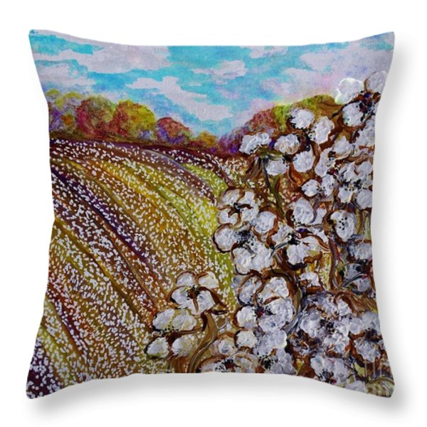 Cotton Fields in Autumn Throw Pillow by Eloise Schneider
