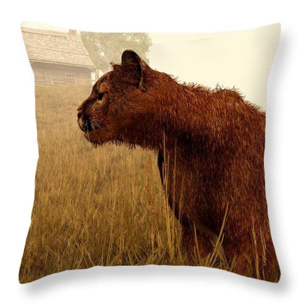 Cougar In A Field Throw Pillow by Daniel Eskridge