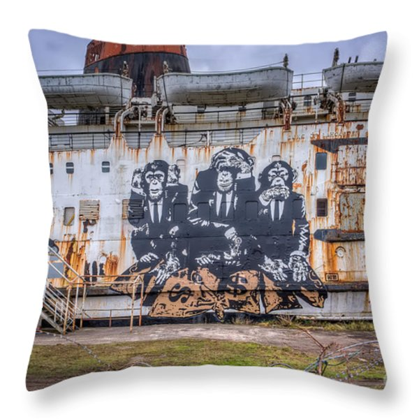 Council of Monkeys Throw Pillow by Adrian Evans