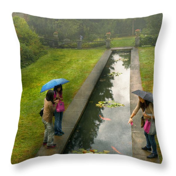 Country - A day out with the girls Throw Pillow by Mike Savad