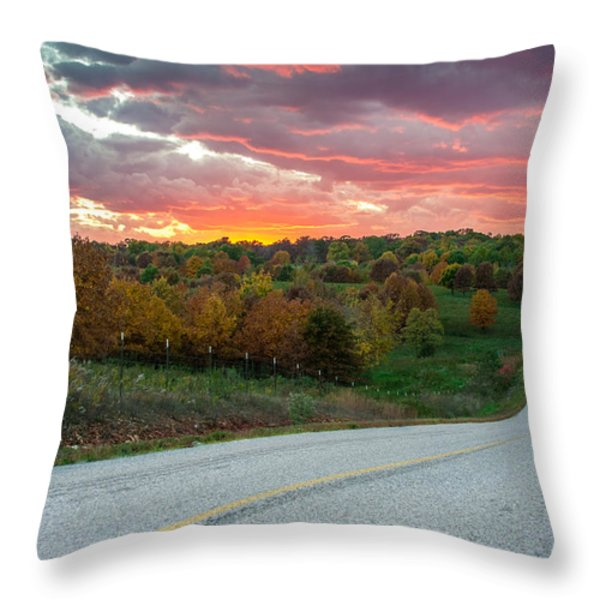 Country Back Roads Throw Pillow by Gregory Ballos