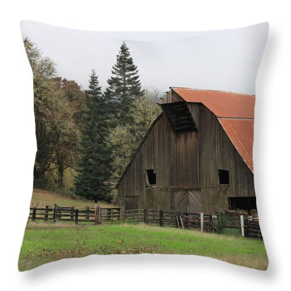 Country Barn Throw Pillow by Katie Wing Vigil