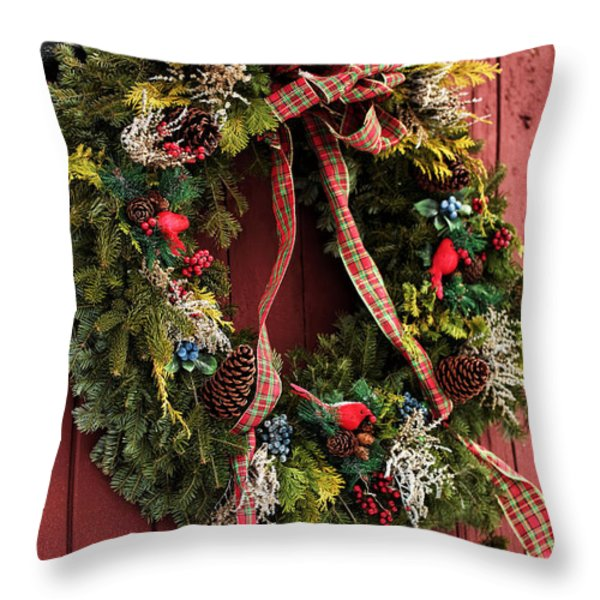 Country Christmas Wreath Throw Pillow by John Rizzuto