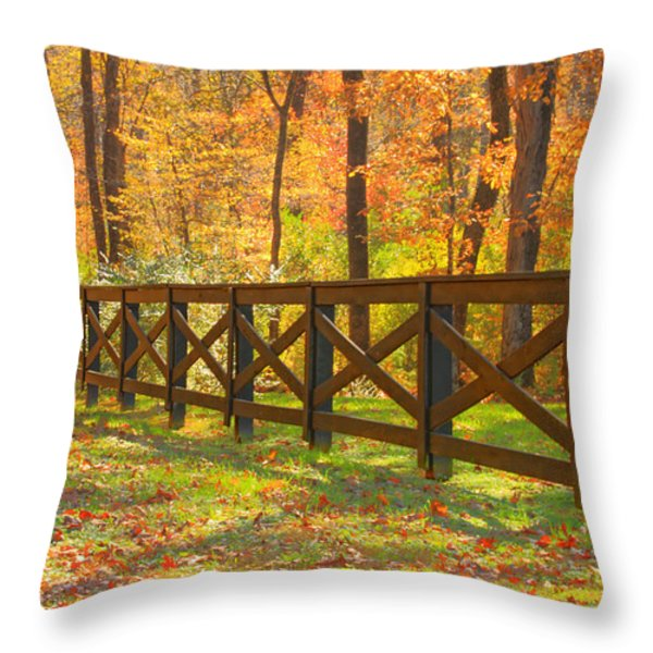 Country Fence Throw Pillow by Geraldine DeBoer