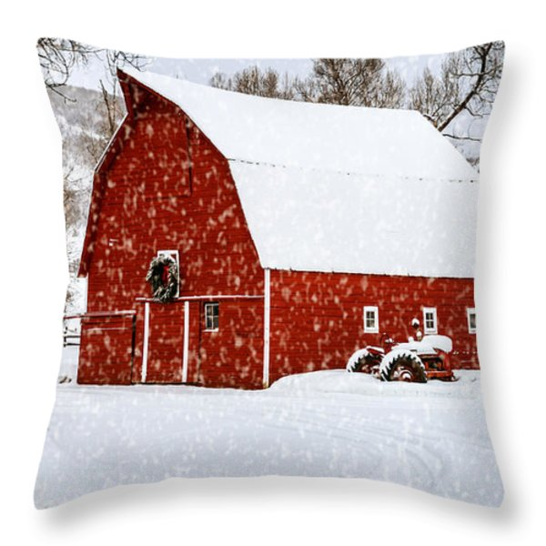 Country Holiday Barn Throw Pillow by Teri Virbickis