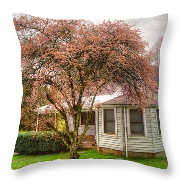Country Pink Throw Pillow by Debra and Dave Vanderlaan