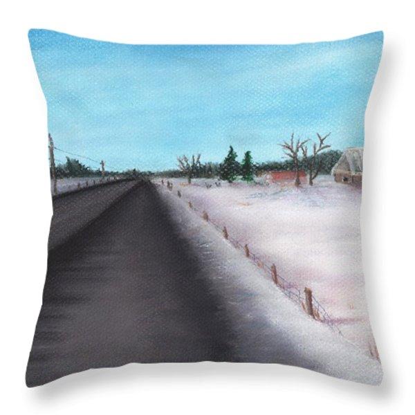 Country Road Throw Pillow by Anastasiya Malakhova