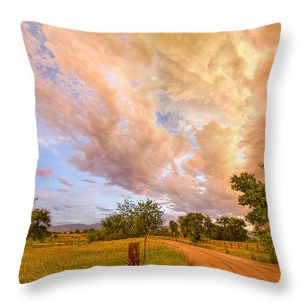 Country Road Into The Storm Front Throw Pillow by James BO  Insogna