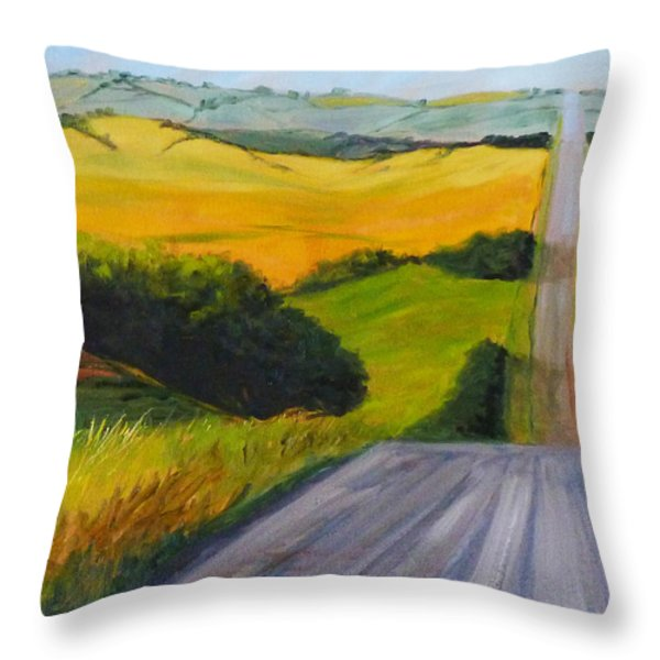 Country Road Throw Pillow by Nancy Merkle