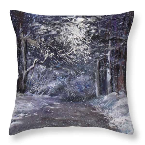Country Road on a Wintery Night Throw Pillow by Jack Skinner