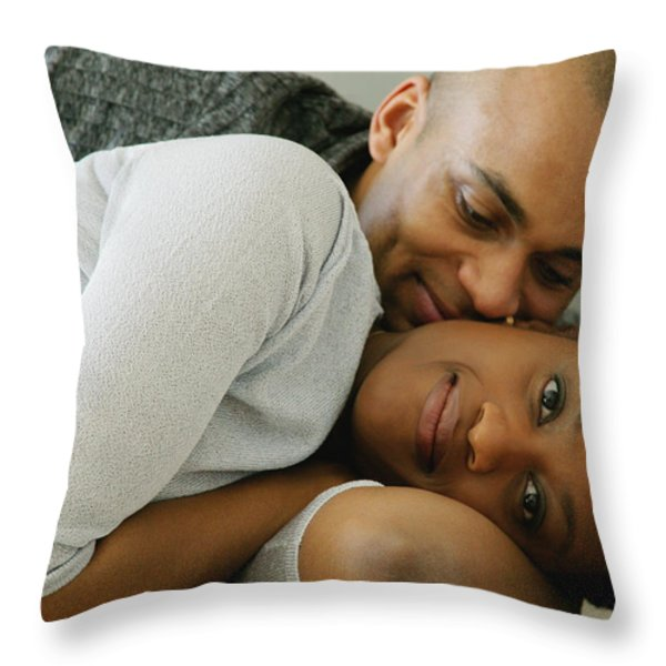 Couple Snuggles Throw Pillow by Darren Greenwood