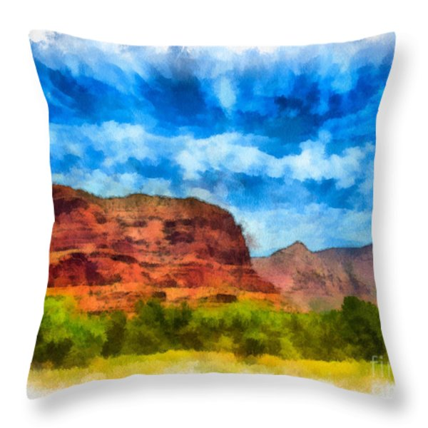 Courthouse Butte Sedona Arizona Throw Pillow by Amy Cicconi