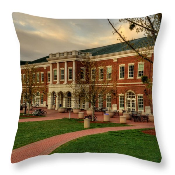 Courtyard Dining Hall - WCU Throw Pillow by Greg and Chrystal Mimbs