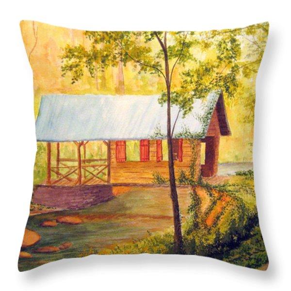 Covered Bridge Boone Nc Throw Pillow by Julia Rietz