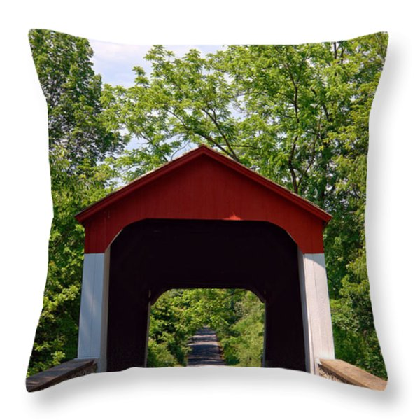 Covered Bridge Throw Pillow by Olivier Le Queinec