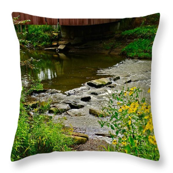 Covered Bridge Throw Pillow by Frozen in Time Fine Art Photography