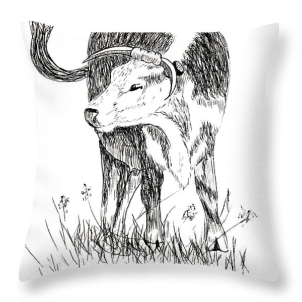 Cow in Pen and Ink Throw Pillow by Rose Santuci-Sofranko