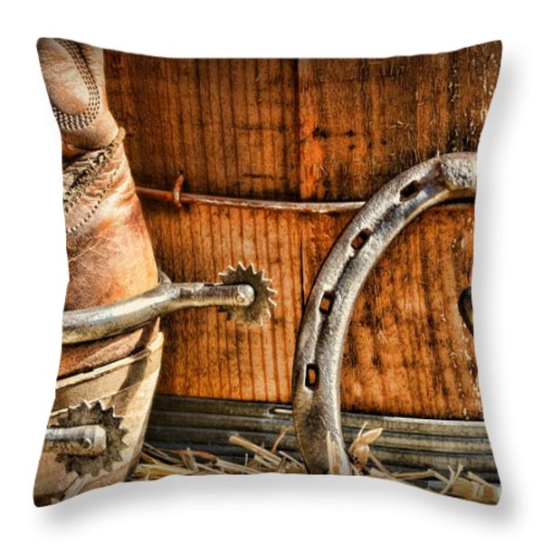 Cowboy Boots and Spurs Throw Pillow by Paul Ward