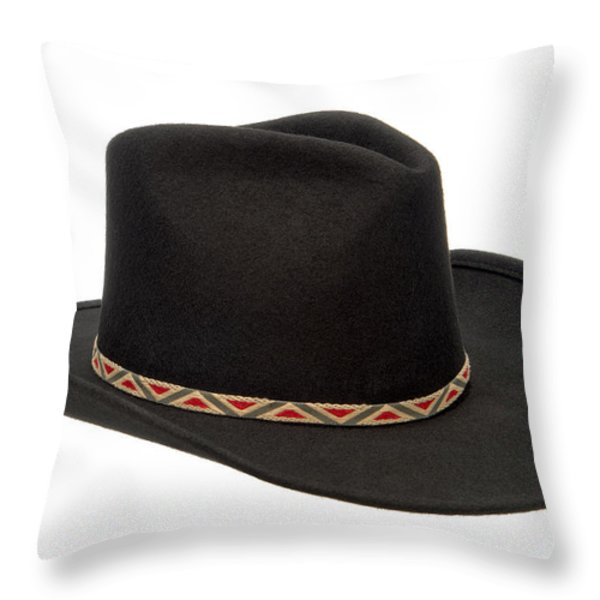 Cowboy Felt Hat Throw Pillow by Olivier Le Queinec