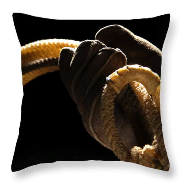 Cowboy Hand Holding Lasso Throw Pillow by Olivier Le Queinec