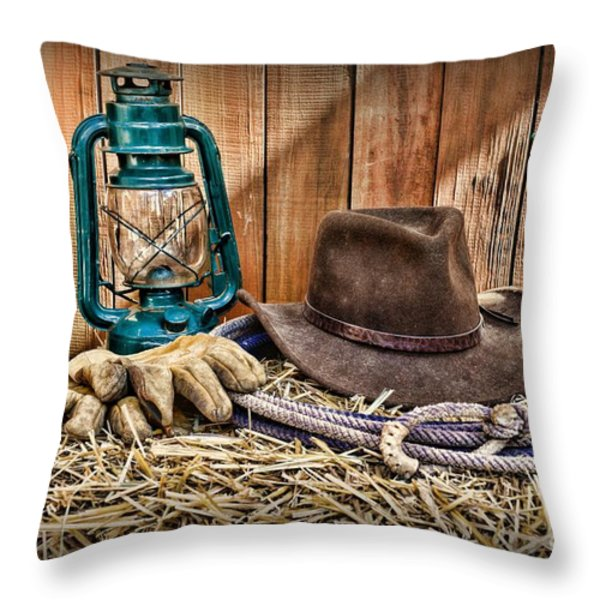 Cowboy Hat and Rodeo Lasso Throw Pillow by Paul Ward