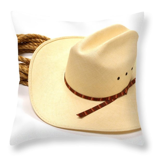 Cowboy Hat And Rope Throw Pillow by Olivier Le Queinec