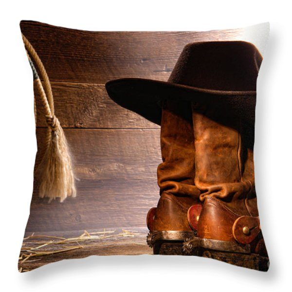 Cowboy Hat on Boots Throw Pillow by Olivier Le Queinec