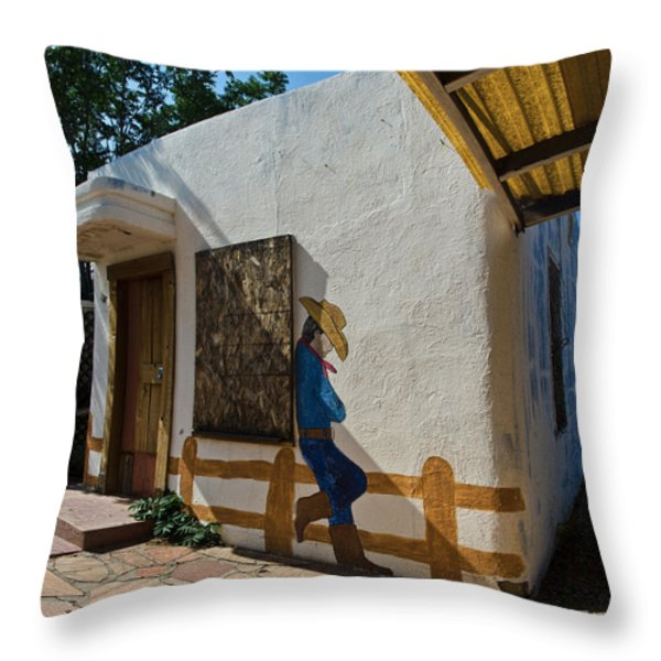 Cowboy Mural In Benson Arizona Throw Pillow by Dave Dilli