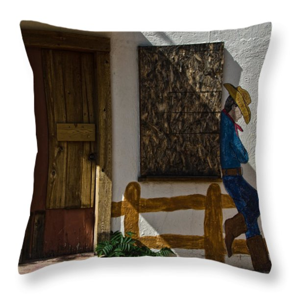 Cowboy Mural In Benson Arizona Usa Throw Pillow by Dave Dilli