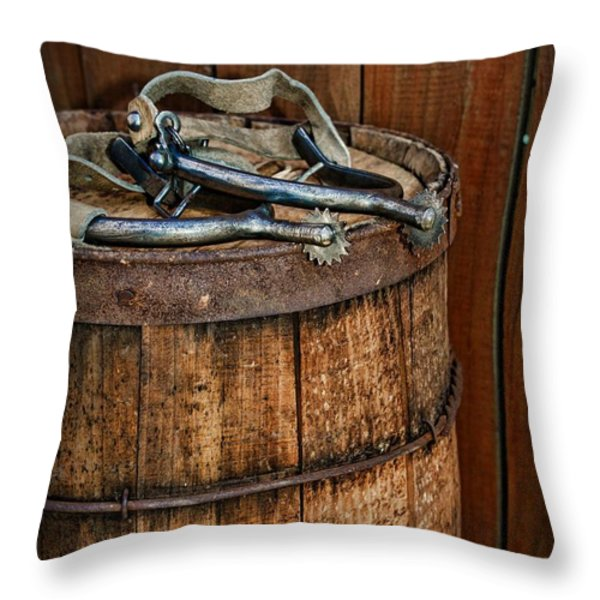 Cowboy Spurs on Wooden Barrel Throw Pillow by Paul Ward