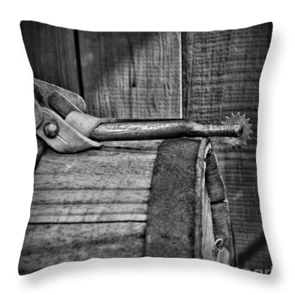 Cowboy themed Wood Barrel and Spur in Black and White Throw Pillow by Paul Ward