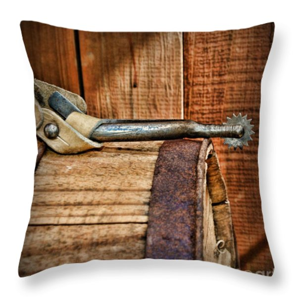 Cowboy themed Wood Barrel and Spur Throw Pillow by Paul Ward