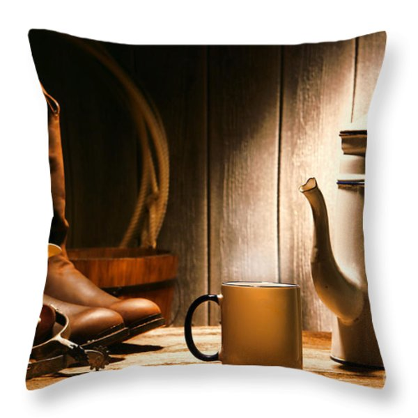 Cowboy's Coffee Break Throw Pillow by Olivier Le Queinec