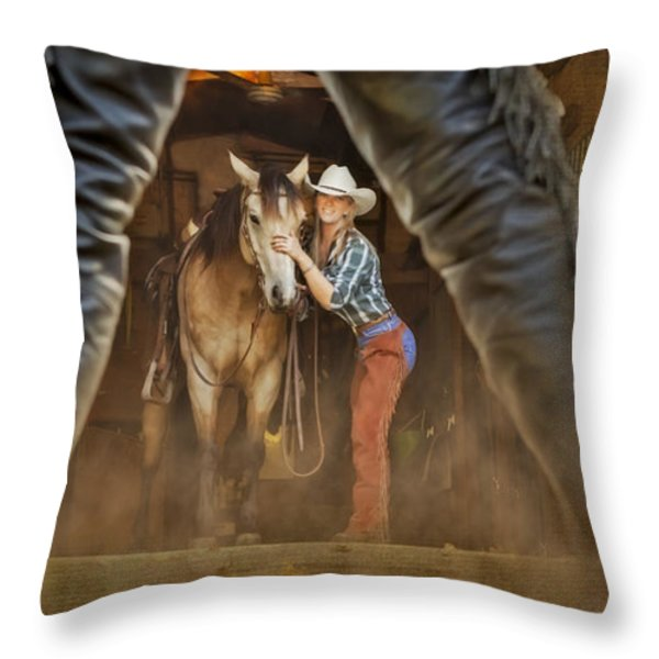 Cowgirl And Cowboy Throw Pillow by Susan Candelario