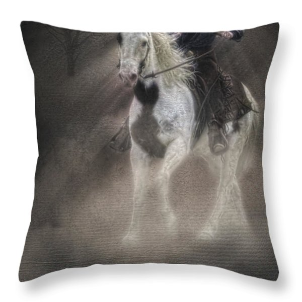 Cowgirl and Knight Throw Pillow by Susan Candelario