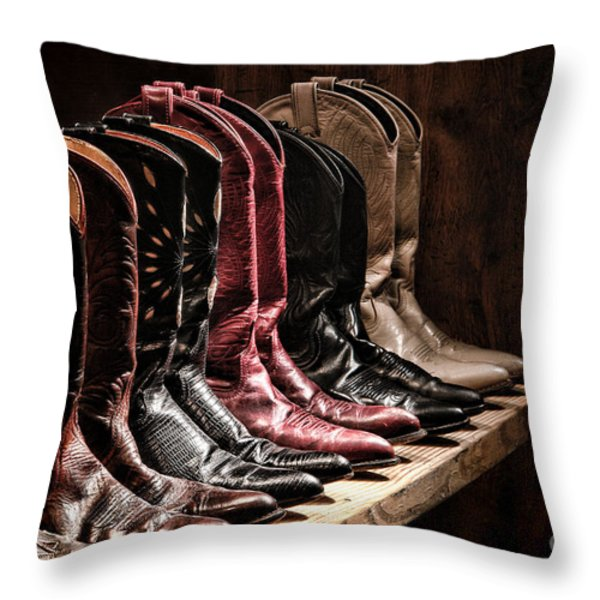 Cowgirl Boots Collection Throw Pillow by Olivier Le Queinec