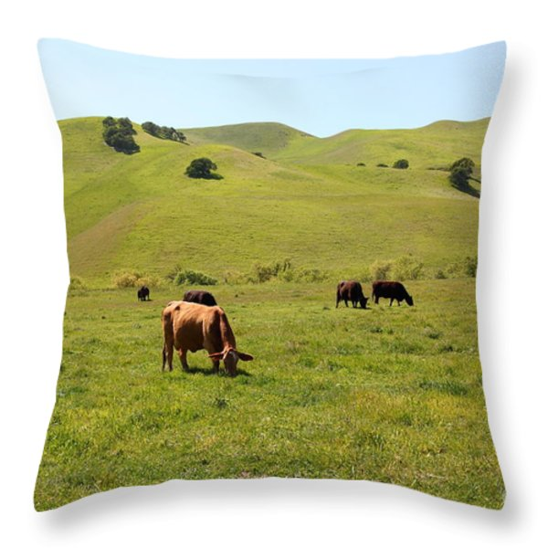 Cows Along The Rolling Hills Landscape of The Black Diamond Mines in Antioch California 5D22350 Throw Pillow by Wingsdomain Art and Photography