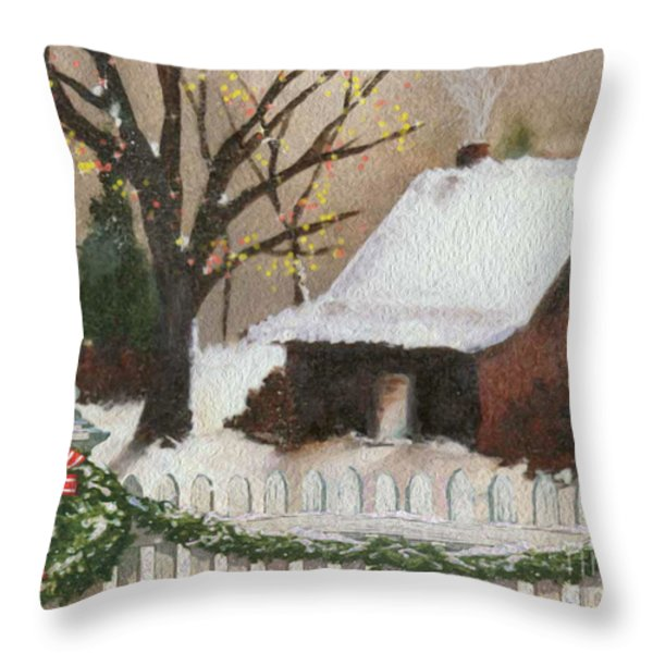 Cozy Cottage Throw Pillow by Cheryl Young