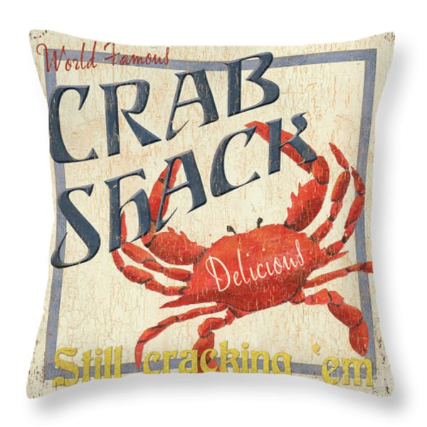 Crab Shack Throw Pillow by Debbie DeWitt