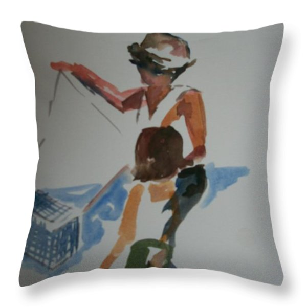 crabbin' with Mom Throw Pillow by Mickey Bissell