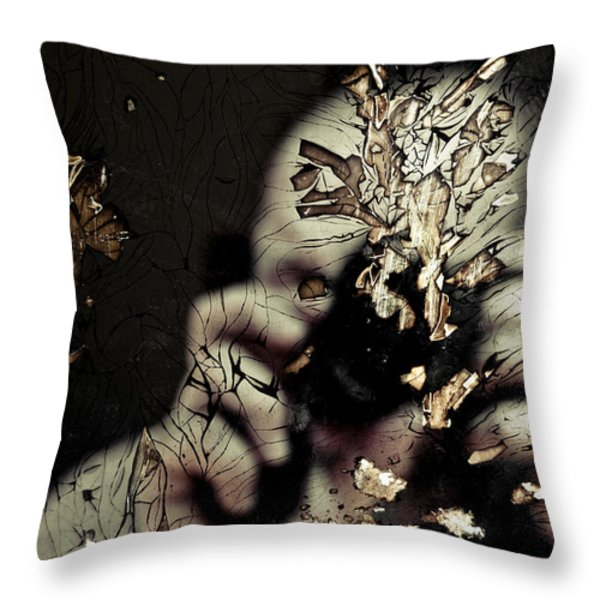Cracked Portrait 01 Throw Pillow by Grebo Gray