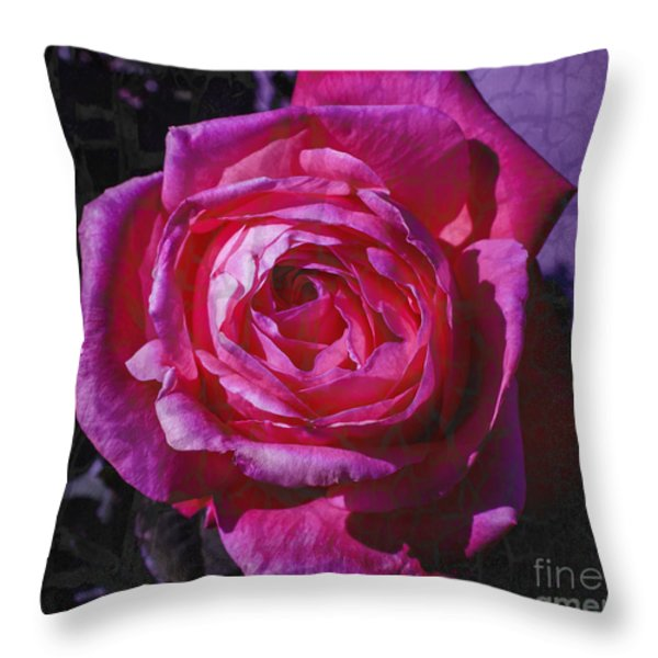 Crackled Fuchsia Rose Throw Pillow by Janice Rae Pariza