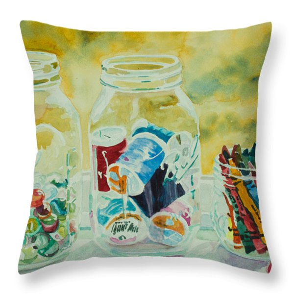 Craft Room Pickles Throw Pillow by Jenny Armitage