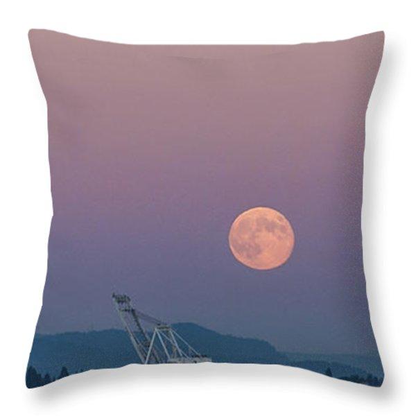 Crane Moon Sail Throw Pillow by Scott Campbell