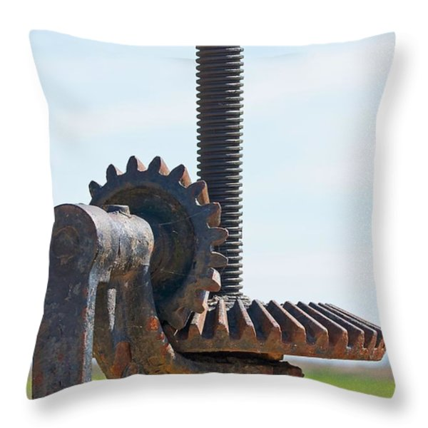 Crank and Gears Throw Pillow by Stuart Litoff